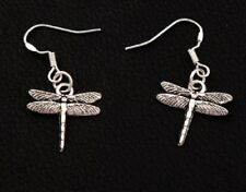 Dragonfly Dangle Earrings Antique Silver Plated Jewellery Drop Dragon Fly UK