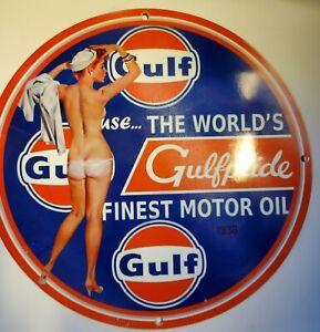 GULF GULFPRIDE MOTOR OIL & GAS PUMP PLATE MAN CAVE GARAGE VINTAGE PORCELAIN SIGN