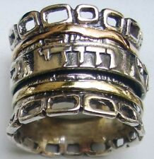 Spinner ring  hebrew beloved band Ani le Dodi hebrew love ring bague tube argent