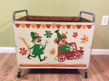 "VTG Rolling Clown Circus Toy Box 24 ""x 16"" x 14"" Wood Castors"
