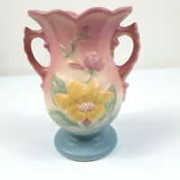 Vintage Hull Pink Blue Pottery Floral Vase Made In USA Handles Pottery Urn