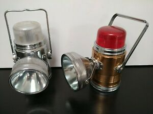 Vintage vidor &  Pifco Chrome/Gold/Red Dome Motorists Car Lantern Lamp Torches