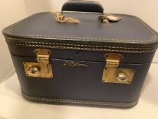 Vintage Blue Lady Baltimore Luggage Vanity Train Case Makeup Suitcase