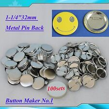 """1-1/4""""32mm 100sets  Metal Pin Badge Button Parts Supplies for Button Maker DIY!!"""
