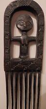OLD antique African Primitive Fine Folk Art Carved WOOD Sculpture Figural Comb $