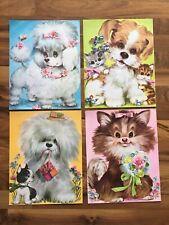 Vintage 1970's  Cute Puppy Prints 11x14 Pastel Retro Dogs Nursery Art Lot of 4