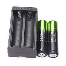 2PCS 5800mAh Li-ion 3.7V 18650 Rechargeable Battery Batteries & Dual Charger