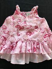 Eliane et Lena Boutique Tiered Pink Cotton Dress -12 Months