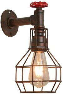 E27 Retro Vintage Industrial Metal Cage Wall Mounted Lamp Rustic Sconce Light