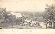 Rock Island Illinois Watch Tower River Scene Antique Postcard K34309
