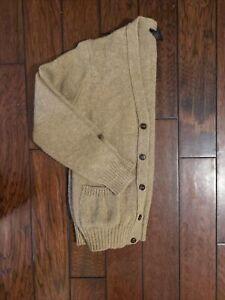 Vtg Lands' End Men's Sz Large 100% Shetland Wool Button Down Sweater