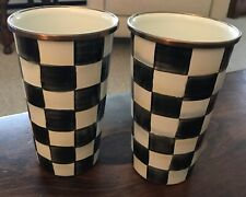 Set Of 2 Two Pair MacKenzie-Childs Courtly Check Enamel Tumbler - 20 Oz - New!