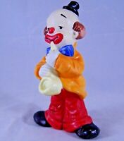 "Vintage Porcelain Hobo Circus Clown Playing Saxophone 5"" Figurine Made in Taiwan"