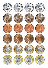 24  COINS  /  MONEY   BIRTHDAY  CUPCAKE  WAFER RICE EDIBLE FAIRY CAKE TOPPERS