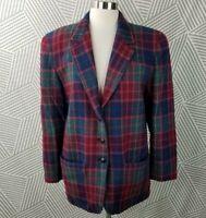 Vintage 100% Wool Tartan Plaid Blazer Jacket size 6 oversize boxy holiday Heavy