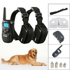 300 Yard Hunting LCD 100LV Level Shock Vibra Remote Pet 2 Dog Training Collar