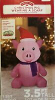 Airblown Inflatable 3.5 Ft Tall Pig Wearing A Scarf Christmas Gemmy