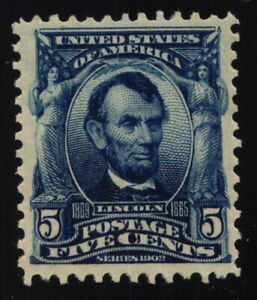 Scott 304 VF - 5c Blue - Lincoln - OG - HM with Cert - 1903