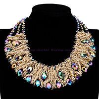 Fashion Rhinestone Crystal Chain Collar Choker Statement Bib Necklace Jewelry