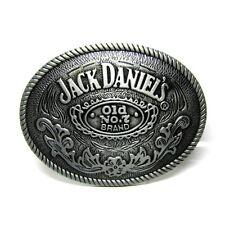 Oval Leather Belt Buckle Mens Whiskey JACK DANIELS Old No7 Floral Etched Vintage