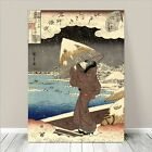 "Beautiful Japanese GEISHA Art ~ CANVAS PRINT 16x12"" Hiroshige Woman in Snow"