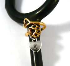 Stethoscope ID tag dog Paw/heart SPIRAL engraved initial heart charm ring,vet