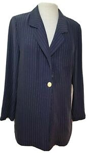 Gerry Weber Women's Vintage Jacket Pin-Striped Loose Fit Navy Blue & White UK 10