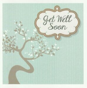 Get Well Soon Card - Floral Sparkly - Good Quality - Female Friend Relative