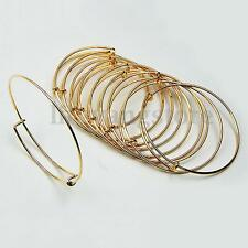 10/20Pcs Expandable Silver Gold Bangle Bracelet Wire Wrapped Adjustable Bulk