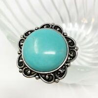Faux Turquoise Ring Adjustable Boho Southwestern Western Aztec Statement Round
