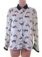 ZARA cream kitsch reindeer silky blouse shirt faux leather collar size S 8 10