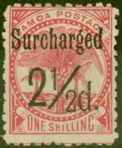 Samoa 1898 2 1/2d on 1s Dull Rose-Carmine SG86 Fine Mtd Mint (21)