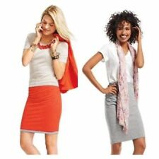 CAbi Size L Reversible Tube Skirt Orange/Grey Ruched Side Cotton Blend NWT $74