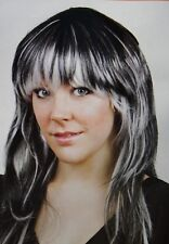 Long Black with White Streaks Costume Wig - New in bag - Free post