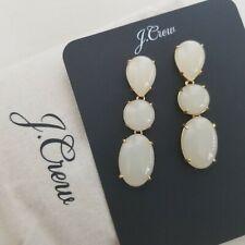 J. Crew Pearl White Triple Stone Drop Dangle Earrings Ivory