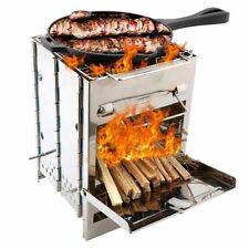 Outdoor Portable Mini Woods Lightweight Backpacking Stainless Steel Grill Stoves