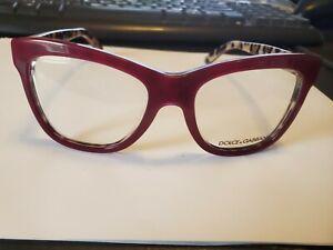 NEW Dolce & Gabbana DG 3212 2882 BURGUNDY/ANIMAL PRINT Eyeglasses 52/18/140