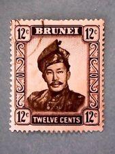 Brunei. QE2 1952 12c Black & Violet. Wmk Mult Script CA. SG107. P13. Used.