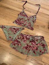 SEXY Becca BIKINI SKIRT SIZE large / Medium SWIMWEAR swim suit Pink Green