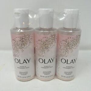 3 Olay 4.23 Oz Pitaya & Cranberry Seed Exfoliating Face & Body Powder