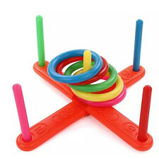 New Children Kids Outdoor Game Hoop Ring Toss Quoits Garden Toy Set Hot Sale