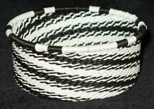 African Zulu Telephone Wire Basket Bowl - Tuna Can - Intricate Black & White