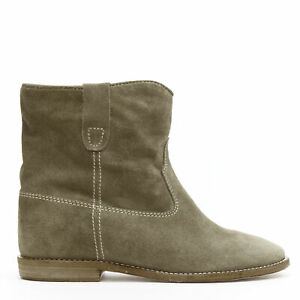 new ISABEL MARANT Signature Crisi Taupe suede concealed wedge ankle boots EU40
