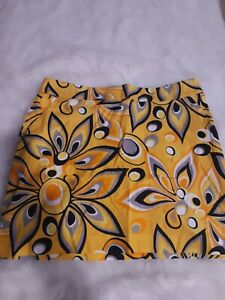 Loudmouth Skort Skirt Yellow Black Multi Color Tennis Golf Womens Size 14