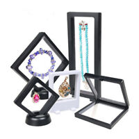AU Plastic 3D Display Frame Stand Holder Black Floating Jewelry Boxes Hot