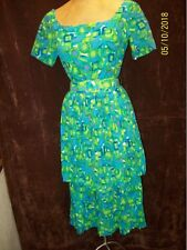 Vintage 1950's Green White Blue Cotton Cocktail Dress by Peggy Lane S/M