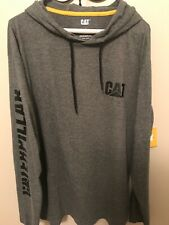 CATERPILLAR CAT Long-Sleeve Hooded Gray T-shirt~Size Large~ New with Tag
