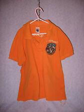 VTG Ed Hardy Kids Orange Polo Embroidered Bulldog Ed Hardy Across Back L/12