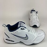 Nike Air Monarch IV Men's 10.5 D White Navy Leather New Walking Athletic Shoes