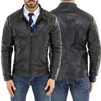 ★Giacca Giubbotto Uomo in di PELLE 100% Men Leather Jacket Veste Homme Cuir Q45c